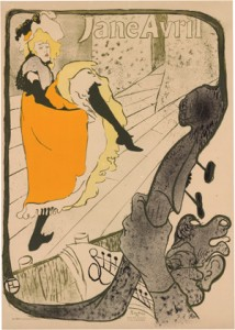 Henri de Toulouse-Lautrec Jane Avril at the Jardin de Paris [Jane Avril au Jardin de Paris] 1893 brush and spatter lithograph, 128.2 x 93.6 cm National Gallery of Australia, Canberra Gift of Orde Poynton Esq. CMG 1996
