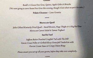 Part of the offending menu from the Liberal Party fundraiser