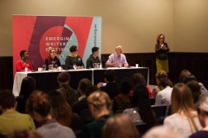 Maxine Beneba Clarke, Hannah Kent, Krissy Kneen, Benjamin Law and Felix Noble at The National Writers' Conference.  Photo by Mark Gambino.