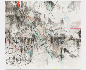 Julie Mehretu, CO-EVOLUTION OF THE FUTURHYTH MACHINE (AFTER KODWO ESHUN), 2013, Graphite, ink and acrylic on canvas. Photo. Marian Goodman Gallery