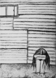 "Looking Within"" (2008) Etching on Stonehenge Paper © Jade Manly"