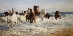 Lucy Kemp-Welch, Horses bathing in the sea, 1900, oil on canvas, 152.9 x 306.5 cm, National Gallery of Victoria, Melbourne, Purchased, 1900 © Estate of Lucy Kemp-Welch