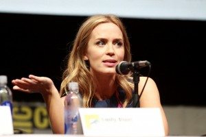 Emily Blunt at the San Diego Comic Con in 2013, talking about her action role in Edge of Tomorrow.