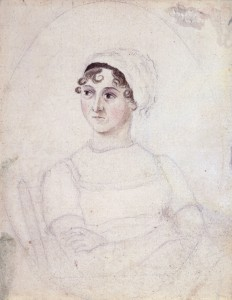Austen's likeness as drawn by her sister, Cassandra. Image via Wikimedia Commons.