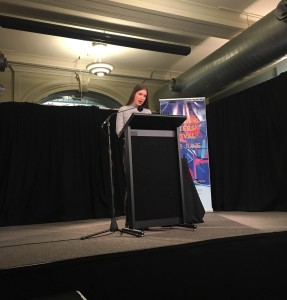 Voiceworks editor & 2017 Rachel Prize judge, Lucy Adams reading Alexandra Philp's winning story, 'Pools 2007' at the Emerging Writers' Festival